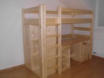 Poschodová posteľ  kombinovaná písací stolík + skrinka a polička